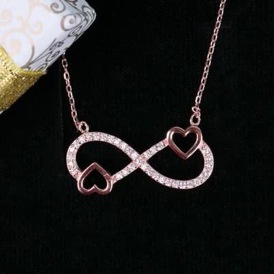 Mini Kalpli Gümüş Sonsuzluk Kolye