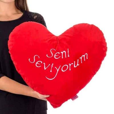 Kız Arkadaşa Hediye Seni Seviyorum Kalp Yastık