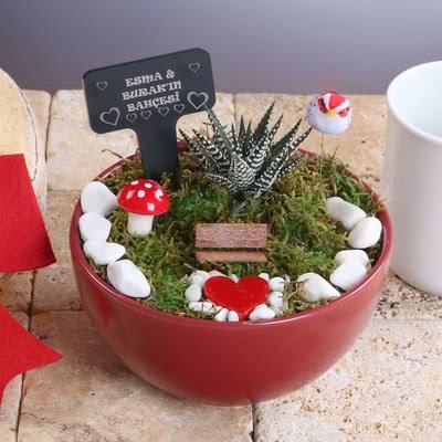Sevgiliye Hediye Kalpli Minyatür Bahçe