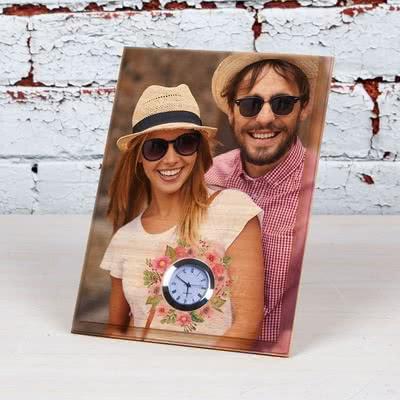 Sevgiliye Özel Hediye Saatli Mini Ahşap Foto