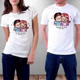 Aşık Sevgililer Tasarımlı Baskılı Tişört