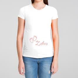Ayak İzi Tasarımlı Kişiye Özel Hediye Hamile Tişörtü