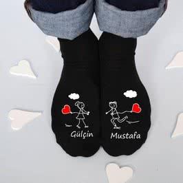 Balon Baskılı Sevgiliye Hediye 4lü Çift Çorabı