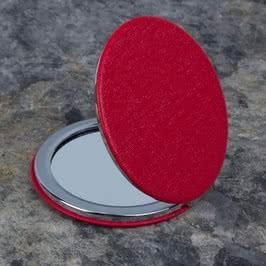 Deri Kaplama Yuvarlak Cep Aynası