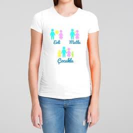Evli Mutlu Çocuklu Hediye Hamile Tişörtü