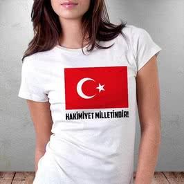 Hakimiyet Milletindir Türk Bayrağı Baskılı Tişört
