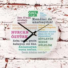 Klasik Öğretmen Sözleri Cam Duvar Saati