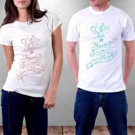 İsim Ve Tarih Yazılı Sevgili Tişörtü