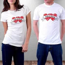 İsim Yazılı Kalp Tasarımlı Çift Tişörtü