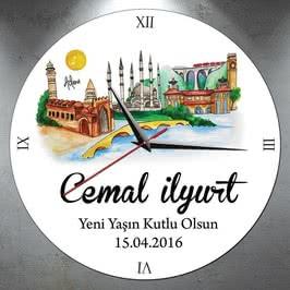 İsme Özel Adana Şehri Tasarımlı Duvar Saati