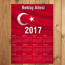 İsme Özel Türk Bayraklı 2017 Takvimi