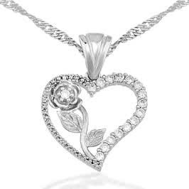 Kalbimin Gülü Gümüş Kolye
