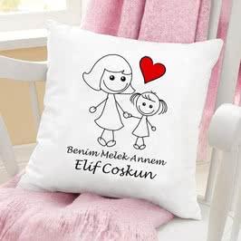 Kız Çocuktan Anneye Anneler Günü Hediyesi Yastık