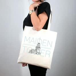 Kız Kulesi Tasarımlı Bez Çanta