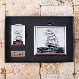 Nostaljik Yelkenli Tasarımlı Çakmak Ve Sigara Tabakası
