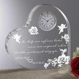 Peri Figürlü Sevgiliye Kalp Saat