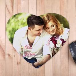 Sevgiliye Hediye Fotoğraflı Kalp Mouse Pad