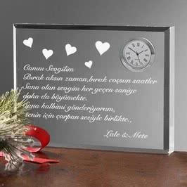 Sevgiliye Hediye Kalp Desenli Masa Saati