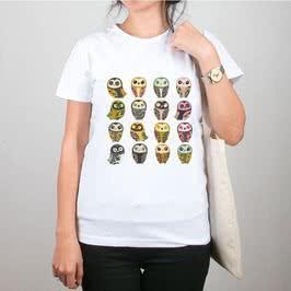 Sevimli Baykuş Baskılı Bez Çanta Tişört Kombini