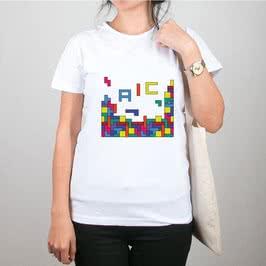 Tetris Tasarımlı Harfli Bez Çanta Tişört Kombini