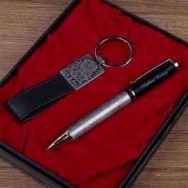 Tuğra Motifli Kalem Anahtarlık Set