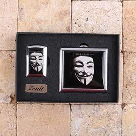 V For Vendetta Maskesi Tasarımlı Çakmak Tabaka Seti