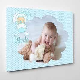 Yeni Doğan Erkek Bebek İçin Hediye Kanvas Tablo 30x40