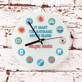 14 Mart Tıp Bayramı Tasarımlı Cam Duvar Saati