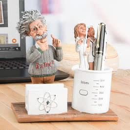 Albert Einstein Tasarımlı Masaüstü Kalemlik - Kartvizitlik Seti