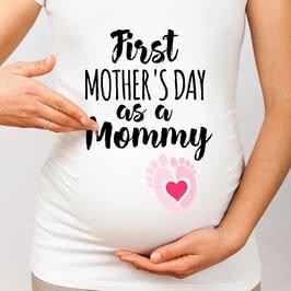 Anne Adayına İlk Anneler Günü Hediyesi Hamile Tişörtü