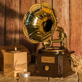 Anneye Hediye Nostaljik Gramofon Görünümlü Müzik Kutusu