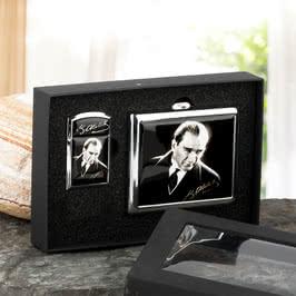 Atatürk İmzası Tasarımlı Çakmak ve Sigara Tabakası