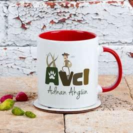 Avcılara Özel Tasarımlı Hediye Renkli Kahve Kupası