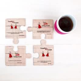 Çay Şiirli Sevgiliye Hediye 4 lü Ahşap Puzzle Bardak Altlığı