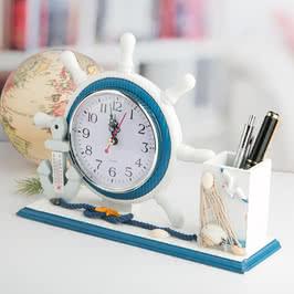 Dümen Şeklinde Masaüstü Saat ve Kalemlik Seti