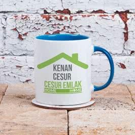 Emlakçıya Hediye İsimli Renkli Kahve Kupası