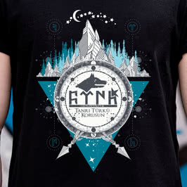 Göktürkçe Türk Yazılı Kurt Başlı Özel Tasarım Tişört