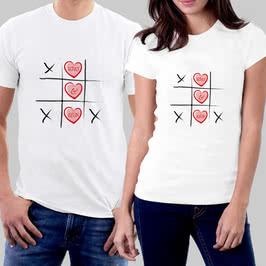 İsme Özel Bulmaca Tasarımlı İkili Sevgili Tişörtü