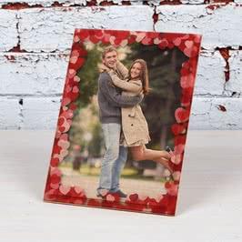 Kalp Çerçeveli Sevgiliye Hediye Baskılı Mini Ahşap Foto