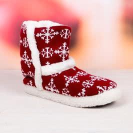 Kar Tanesi Kırmızı Bayan Ev Çizmesi