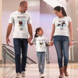 Kartal Figürlü İsim Yazılı 3 lü Aile Tişört Seti