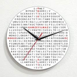 Kelime Bulmaca Ahşap Duvar Saati