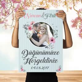Kişiye Özel Fotoğraf Baskılı Düğün Afişi