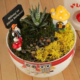 Kızlara Özel Şirinler Evi Minyatür Bahçe