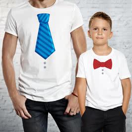 Kravat Papyon Tasarımlı Baba Çocuk Çift Tişörtü