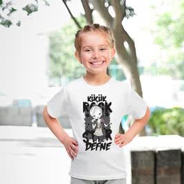 Küçük Rock Müzik Hayranlarına İsim Yazılı Tişört