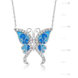 Mavi Süslemeli Gümüş Kelebek Kolye