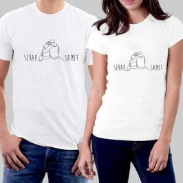 Minimal Tasarımlı İsme Özel İkili Sevgili Tişört Kombini