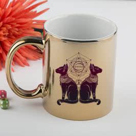 Mistik Tasarımlı İsme Özel Gümüş-Altın Renkli Kahve Kupası