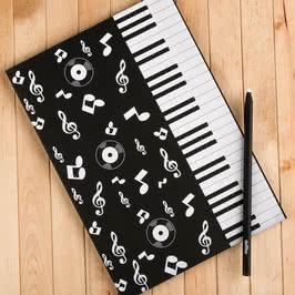 Müzik Tutkunlarına Piyano Desenli Siyah Defter ve Beyaz Kalem Seti